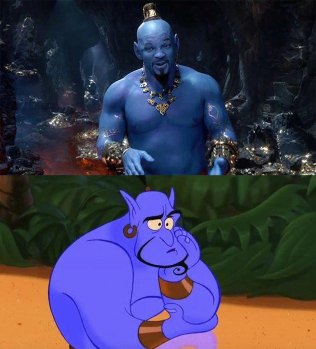 Comparación genios de aladdin versión real y versión caricatura