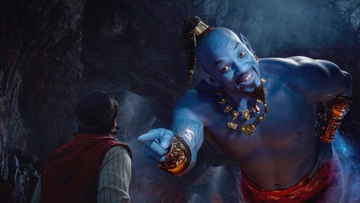 Will smith en el papel del genio de la lampara de aladdin