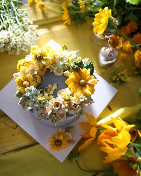Chef pastelera, Atelier Soo, crea pasteles que parecen arreglos florales