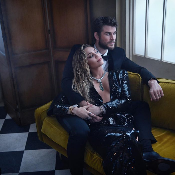 Famosos en los Oscar 2019 fotografiados por Vanity Fair, Miley Cyrus y Liam Hemsworth