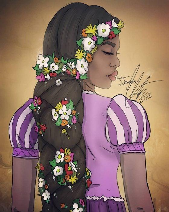 Dibujo de Rapunzel con cabello largo y oscuro