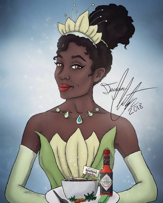 Dibujo de Tiana de la película La princesa y el sapo