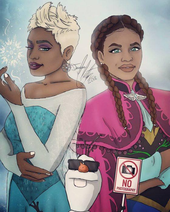 Dibujo de Elsa y Ana de Frozen