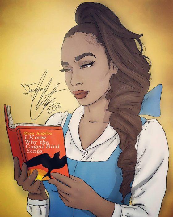 Dibujo de Bella leyendo un libro