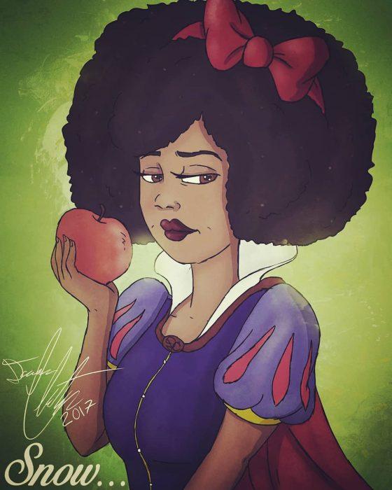dibujo d eBlancanieves con cabello afro