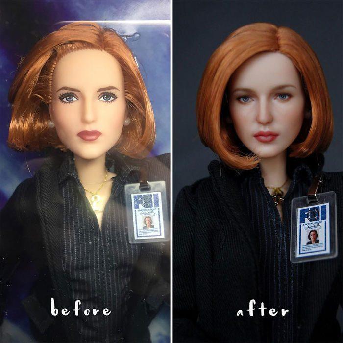 muñeca con cabello corto y pelirrojo
