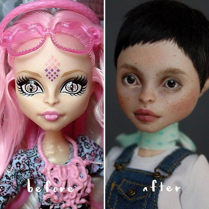 muñeca con cabello roja largo