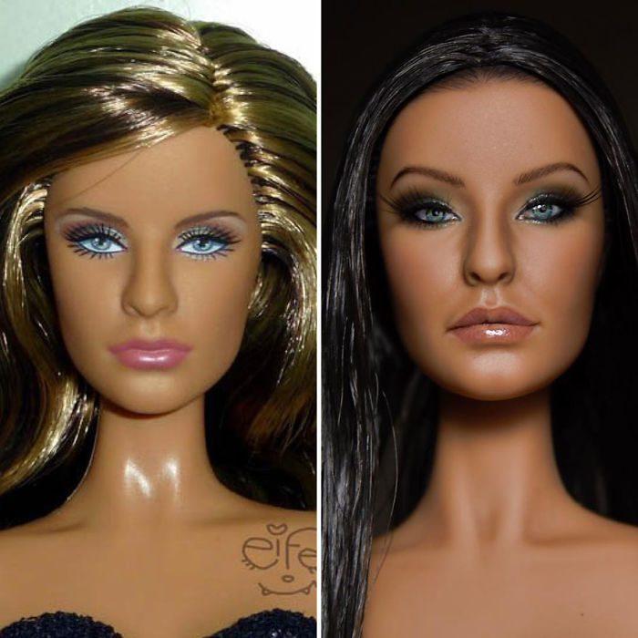 muñeca con cejas grandes y oscuras