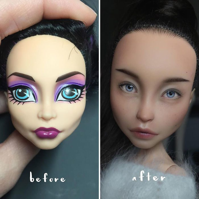muñeca con y sin maquillaje