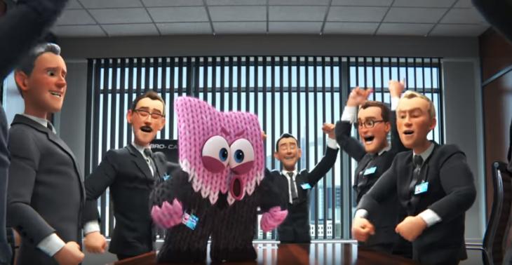 animación bola de estambre con traje y hombres de traje