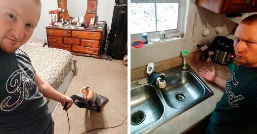 Hombre descifró el código: manda fotos a su mujer haciendo el quehacer para tenerla feliz