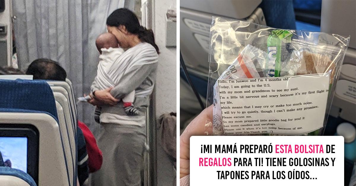 Regala caramelos y tapones de oídos en caso de que su bebé llore durante el vuelo de 10 horas