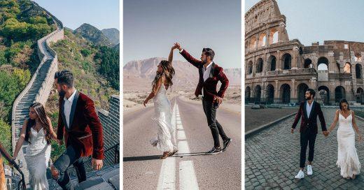 Imagina viajar un año por 33 países en tu luna de miel; esta pareja lo hizo