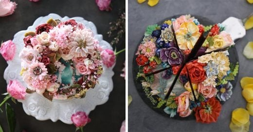 Esta repostera hornea bonitos pasteles florales que no te querrás comer