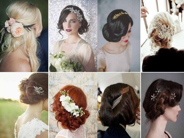 peinados vintage con flores