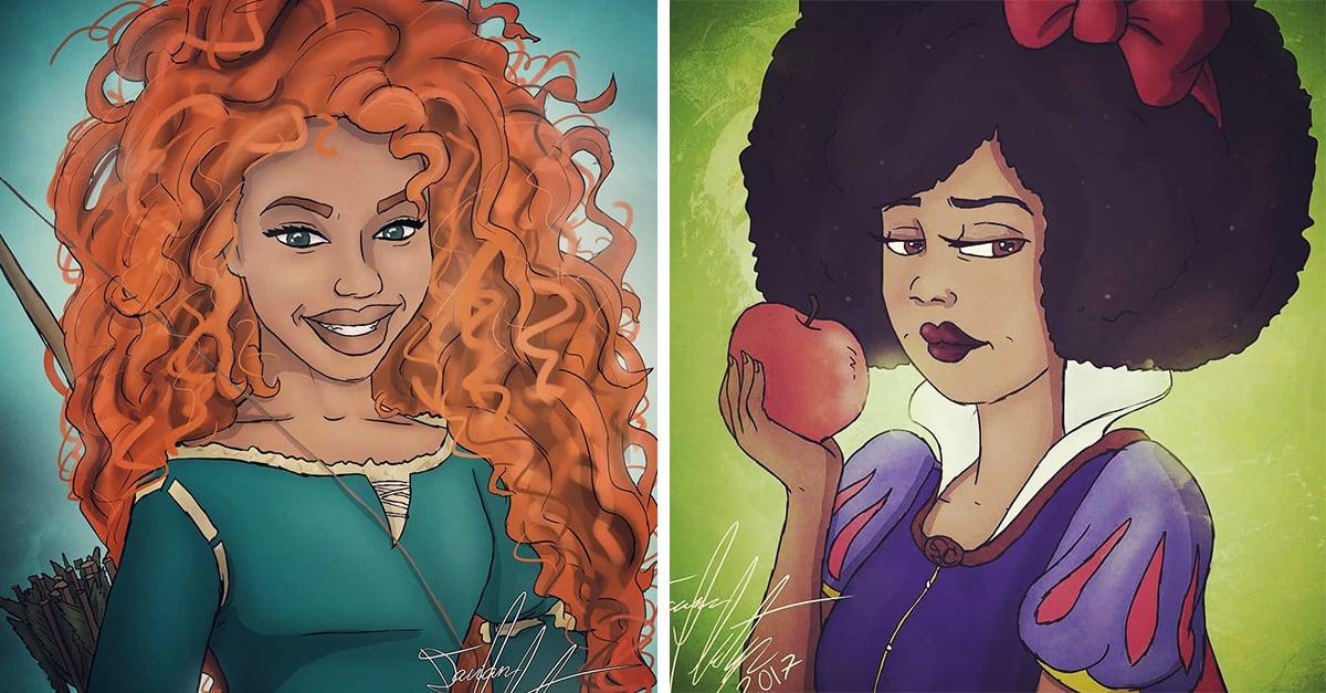 Recreó a las princesas Disney como mujeres de tez oscura y lucen hermosas
