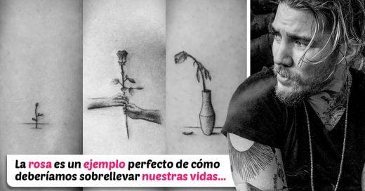 Tatuador crea una historia con 70 tatuajes diferentes para representar el ciclo de la vida con una rosa
