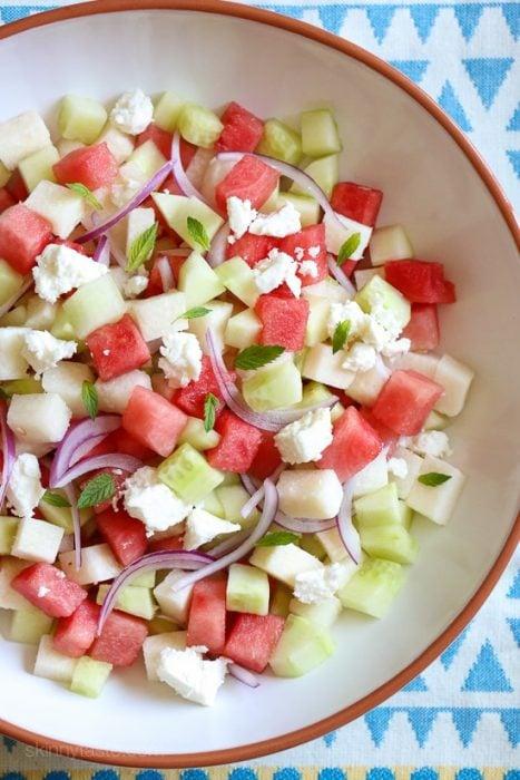 Ensalada de sandia, jícama y pepino