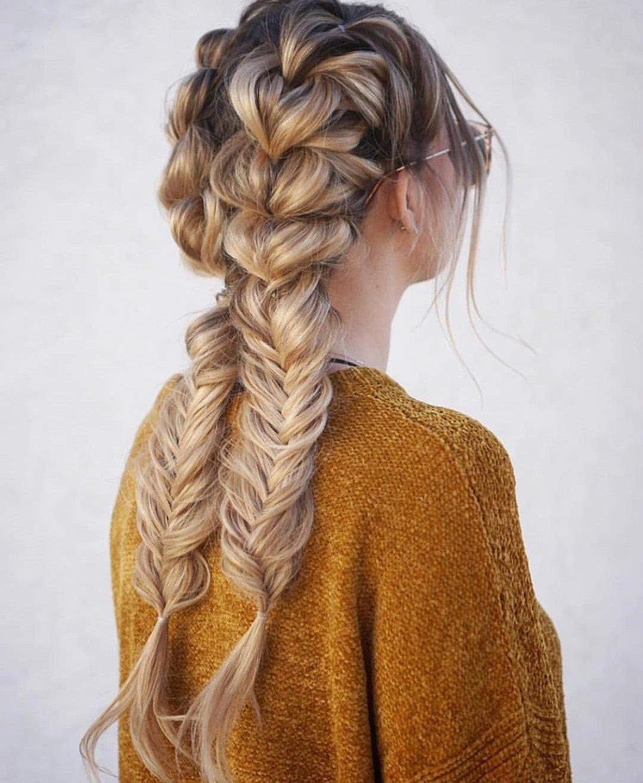 peinados para cabello largo trenza holandesa y cola de pez