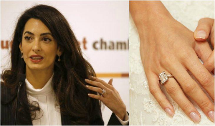 Amal Clooney en una conferencia de la ONU mostrando con la mano su anillo de compromiso