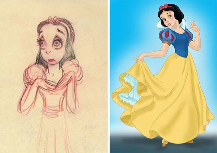 Chica sosteniendo su vestido color amarillo, de cabello corto usando tiara roja, escena película Blancanieves, Disney, antes y después de ser editados