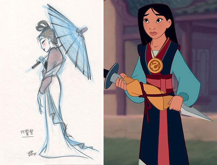 Chica de rasgos orientales, sosteniendo una espada, escena película Mulan, Disney, antes y después de ser editado