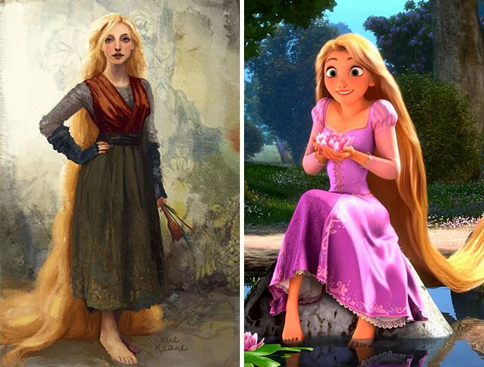 Chica sentada en una roca, sosteniendo flores en sus manos, con cabello largo color rubio, sorprendida, escena Enredados, Disney, antes y después de ser editado