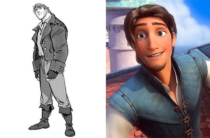 Chico de cabello largo, frunciendo los labios, mirando al frente, escena Enredados, Disney, antes y después de ser editado