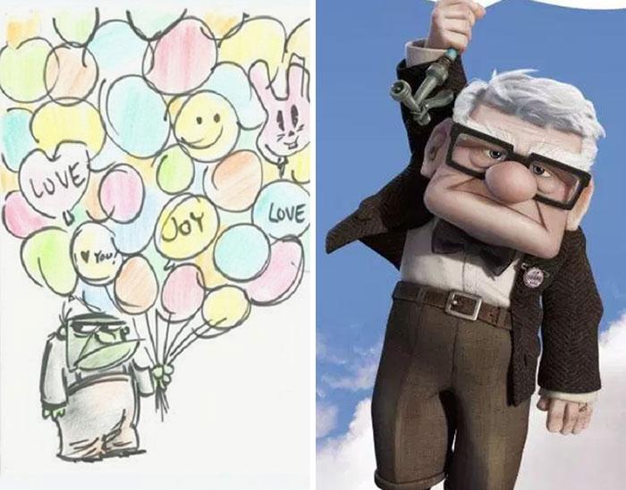 Hombre con cabello blanco, gafas, ropa verde militar, volando en el aire tras sujetar muchos globos, escena película Up! Una aventura de altura, Disney, antes y después de ser editado