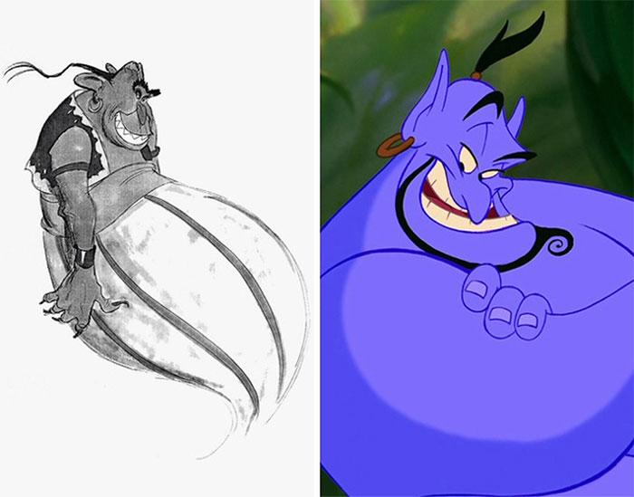 Dibujo de El Genio color purpura, brazos cruzados, escena película Aladdin, Disney, antes y después de ser editado