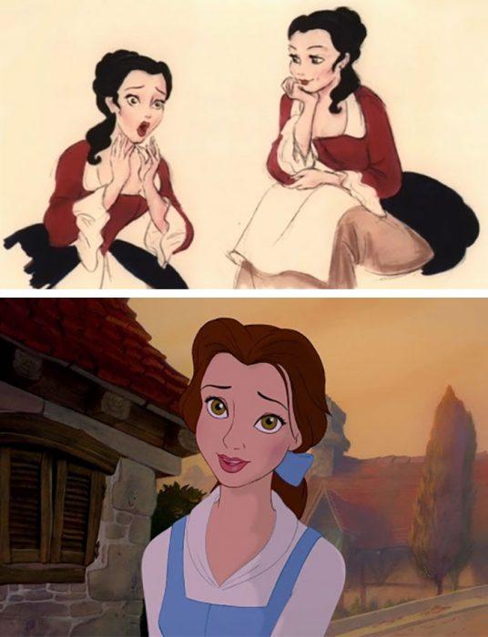 Chica con vestido blanco y azul cielo, cabello sujetado, ojos color miel, cabeza reclinada, escena película La Bella y la Bestia, Disney, antes y después de ser editado