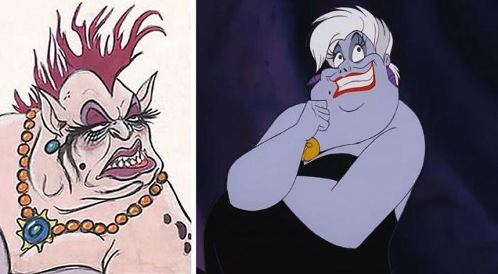 Mujes con piel purpura, sonriendo, mirando hacia arriba, con cabello blanco, escena película La Sirenita, Disney, antes y después de ser editado
