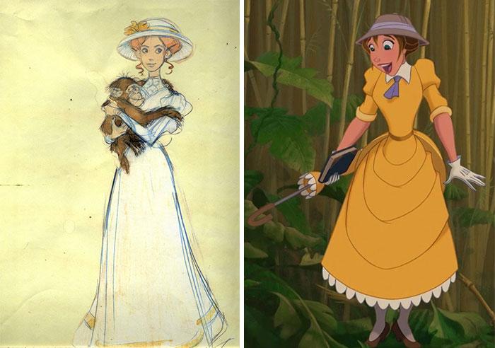 Chica llevando un paraguas en mano sorprendida y mirando hacia el piso, escena película Tarzan de Disney, antes y después de ser editado