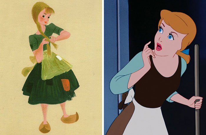 Mujer sorprendida, viendo a través de la ventana, sorprendida, sosteniendo una escoba en la man izquierda, escena película La Bella Durmiente, Disney, antes y después de ser editado