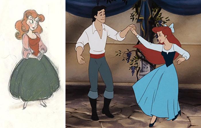 Dibujo animado hecho a lápiz, Chica con vestidos azul bailando con un chico con camisa blanca, escena La Sirenita, Disney, antes y después de ser editado