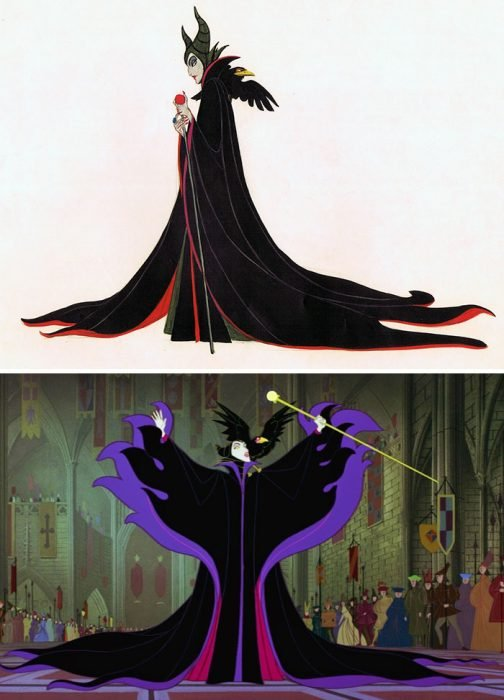 Dibujo animado de Maléfica, Disney, antes y después de ser editado