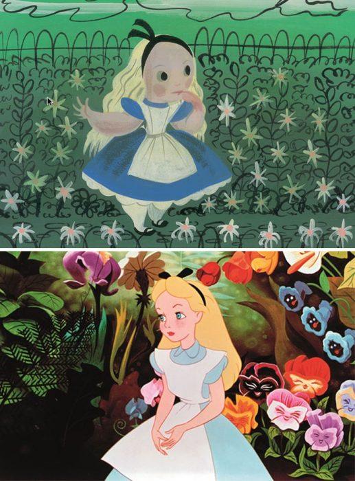 Chica en medio de un bosque con flores de diversos colores, sentada en el piso, usando vestido azul, cabello rubio, escena película Alicia en el país de las maravillas, Disney, antes y después de ser editado
