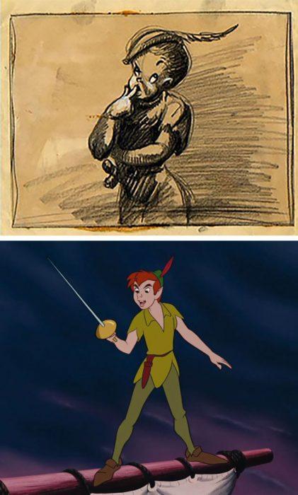 Chico con mayones verdes, gorro con pluma roja, sosteniendo una espada, escena película Peter Pan, Disney, antes y después de ser editado