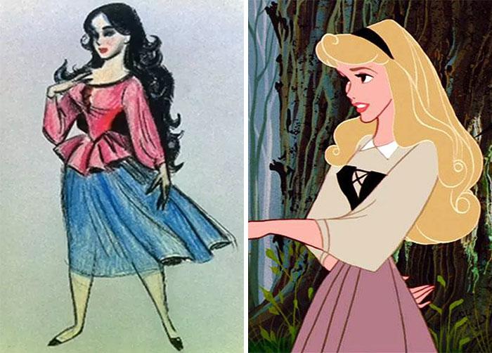 Chica con cabello rubio, largo, de brazos cruzados, parada en el bosque, mirando al frente, escena película La Bella Durmiente, Aurora, Disney, antes y después de ser editado