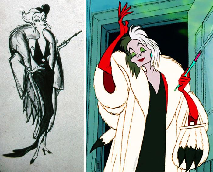 Mujer con saco blanco abultado, guantes rojos, sosteniendo un cigarrillo, con cabello negro y blanco, escena película Los 101 Dalmatas, Disney, antes y después de ser editado