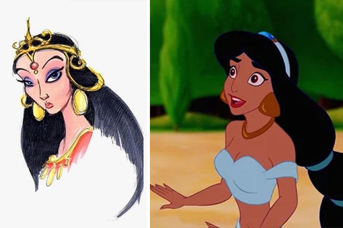 Chica con piel morena, cabello oscuro trenzado, sorprendida, usando crop top azul, escena película Aladdin, Disney, antes y después de ser editado