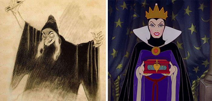 Mujer con vestido morado, capa negro, corona dorada, sosteniendo una caja, escena Blancanieves, Disney, antes y después de ser editado