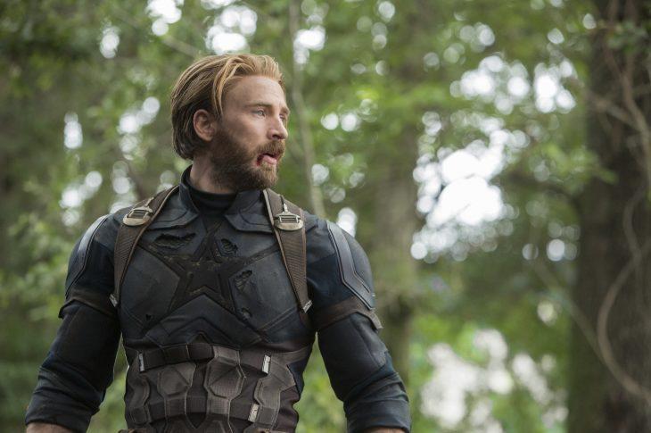 Chris Evans en su papel de Capitán América en la película Avengers Infinity War
