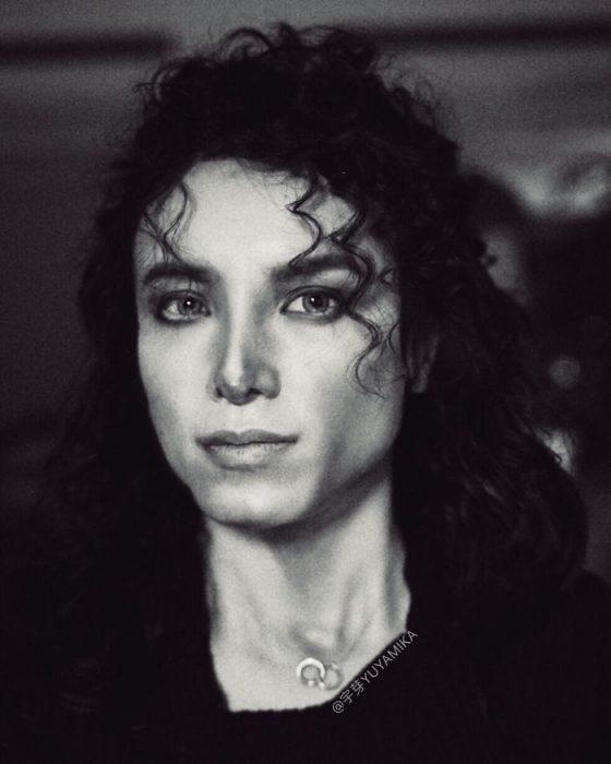 chica maquillada com Michael Jackson