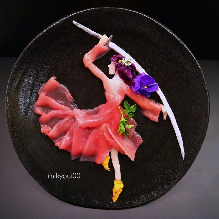 samurai hecha con alimentos