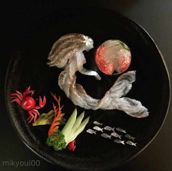 sirena dibujada con alimentos