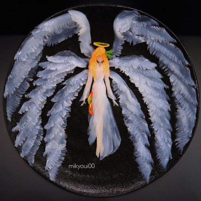ángel elaborado con pescado crudo