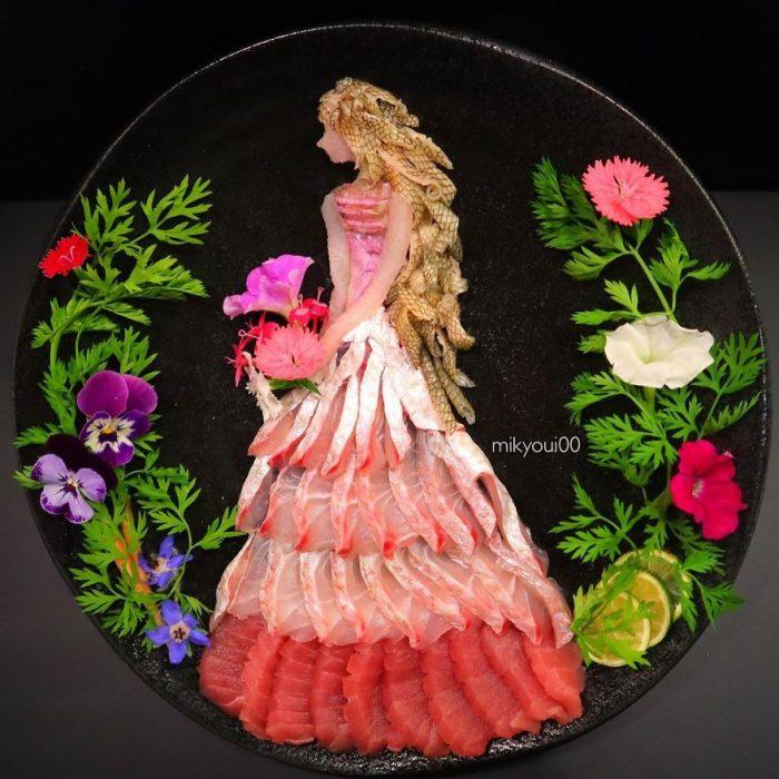 cuadro elaborado con alimentos frescos