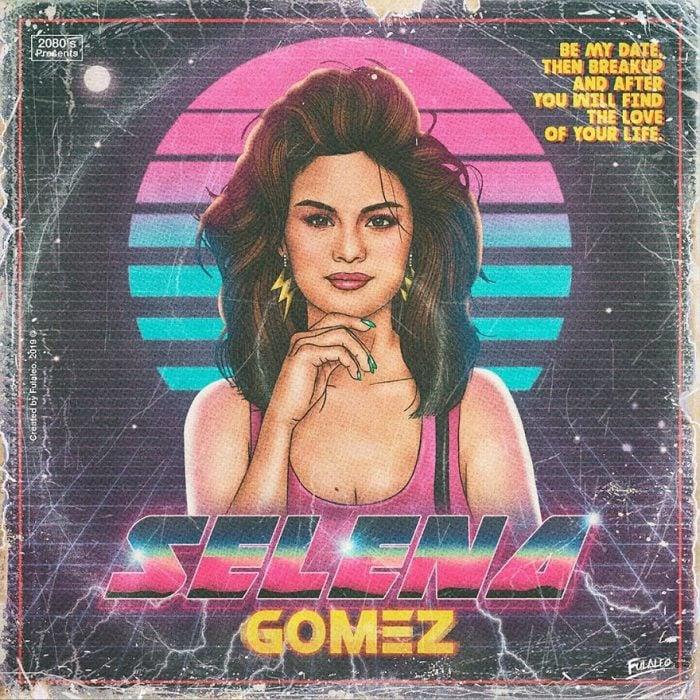Ilustración estilo años 80 de Selena Gomez