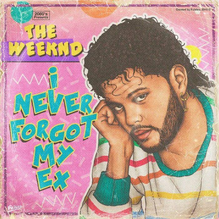 Ilustración estilo años 80 de The Weeknd